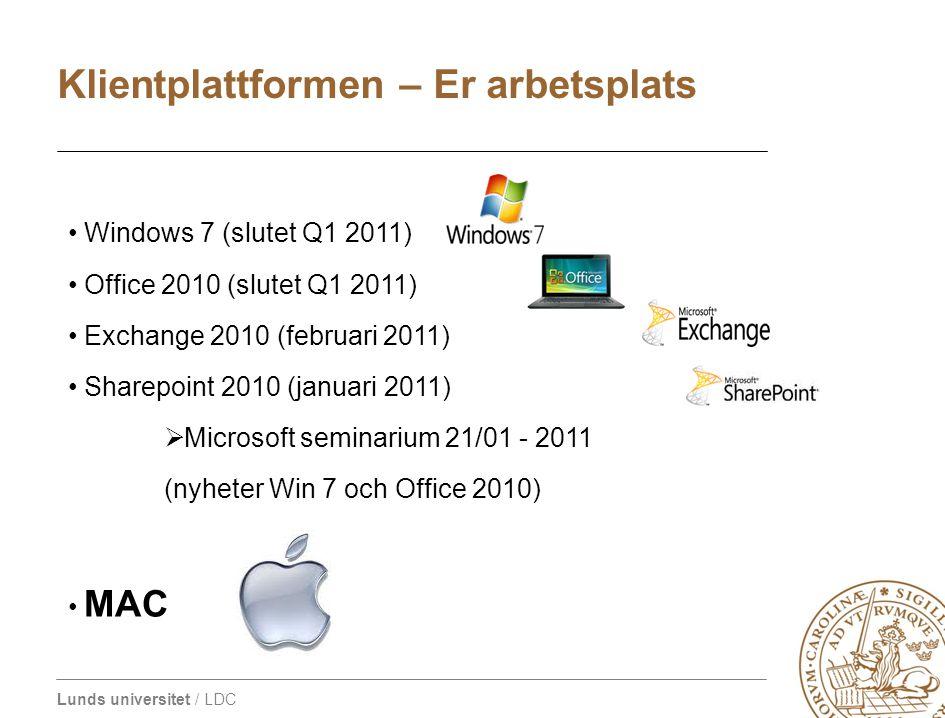 Lunds universitet / LDC • Windows 7 (slutet Q1 2011) • Office 2010 (slutet Q1 2011) • Exchange 2010 (februari 2011) • Sharepoint 2010 (januari 2011) 