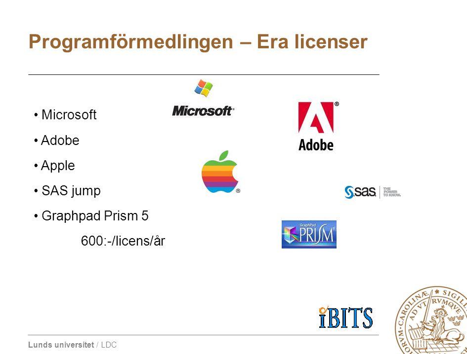 Lunds universitet / LDC • Microsoft • Adobe • Apple • SAS jump • Graphpad Prism 5 600:-/licens/år Programförmedlingen – Era licenser