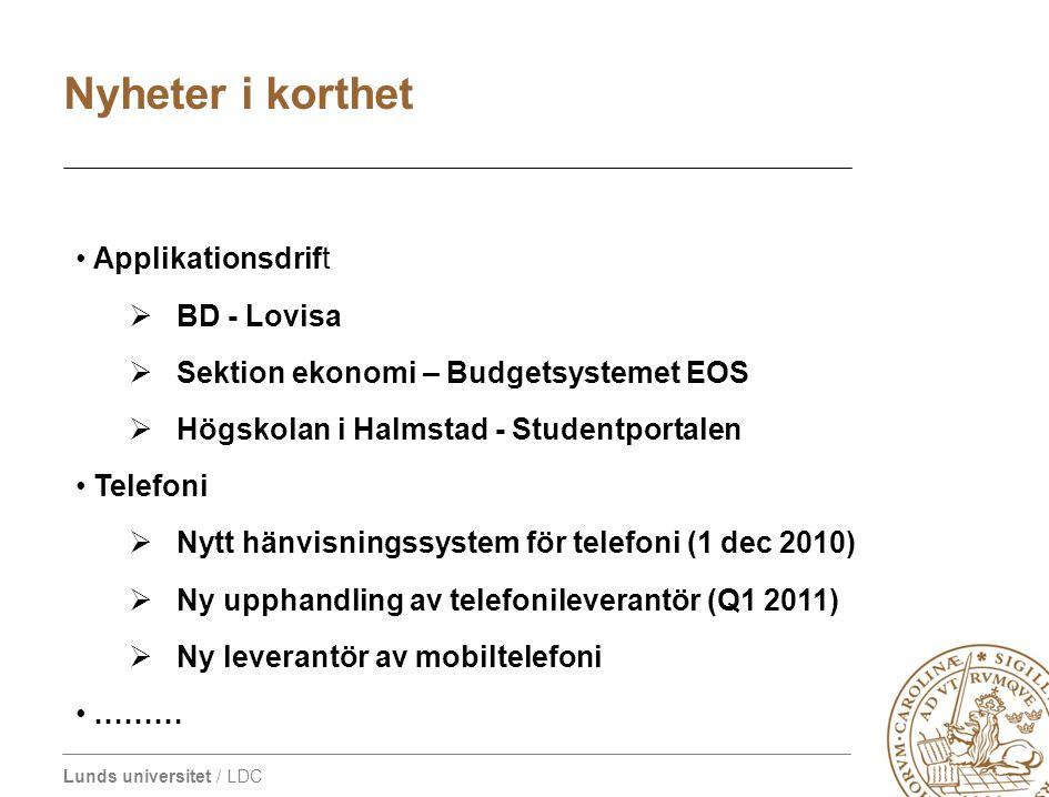 Lunds universitet / LDC • Applikationsdrift  BD - Lovisa  Sektion ekonomi – Budgetsystemet EOS  Högskolan i Halmstad - Studentportalen • Telefoni 