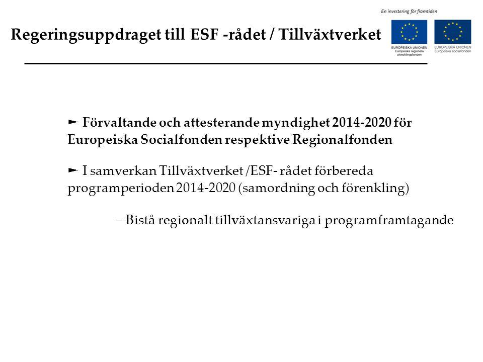 Regeringsuppdraget till ESF -rådet / Tillväxtverket ► Förvaltande och attesterande myndighet 2014-2020 för Europeiska Socialfonden respektive Regional