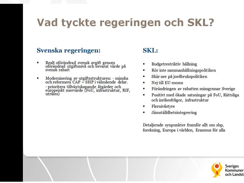 Vad tyckte regeringen och SKL? (SKLs bild) Svenska regeringen: • Realt oförändrad svensk avgift genom oförändrad utgiftsnivå och bevarat värde på sven