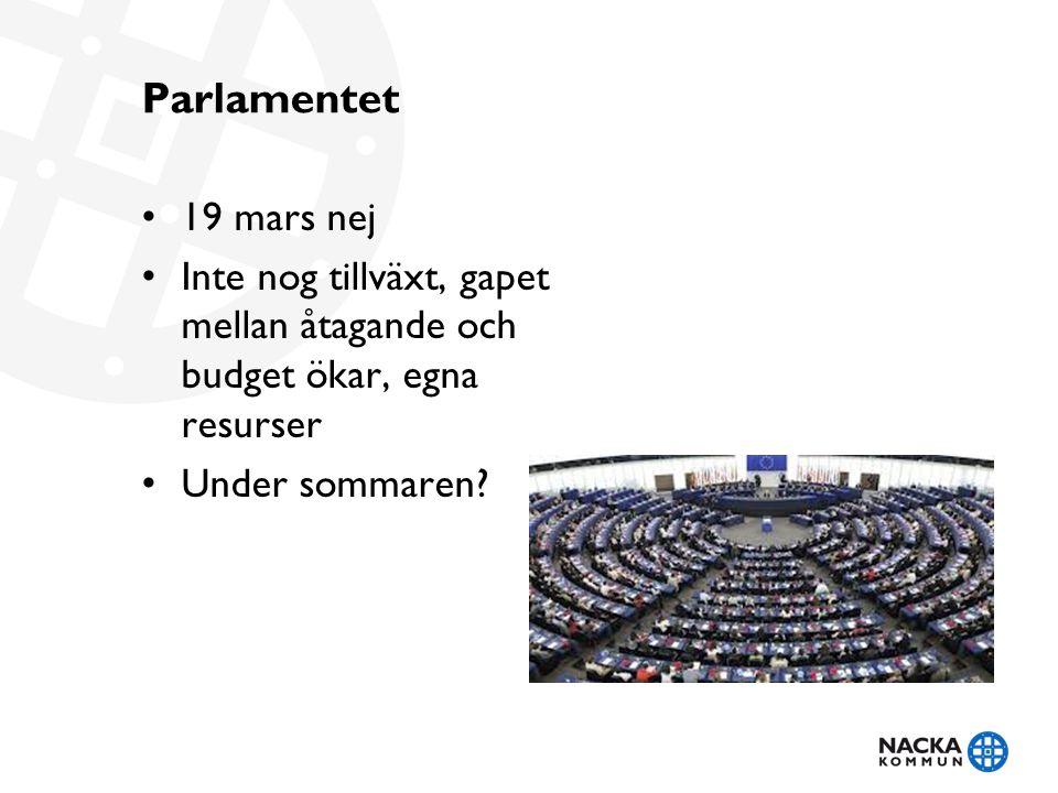 Parlamentet • 19 mars nej • Inte nog tillväxt, gapet mellan åtagande och budget ökar, egna resurser • Under sommaren?