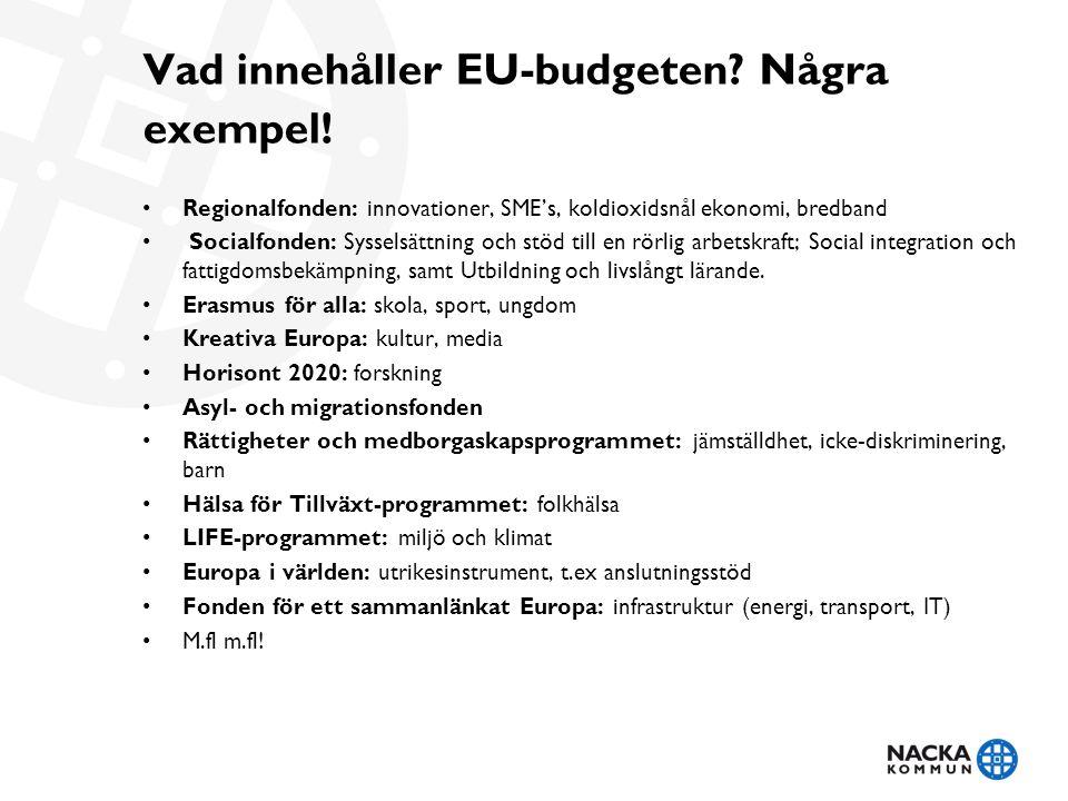 Vad innehåller EU-budgeten? Några exempel! • Regionalfonden: innovationer, SME's, koldioxidsnål ekonomi, bredband • Socialfonden: Sysselsättning och s
