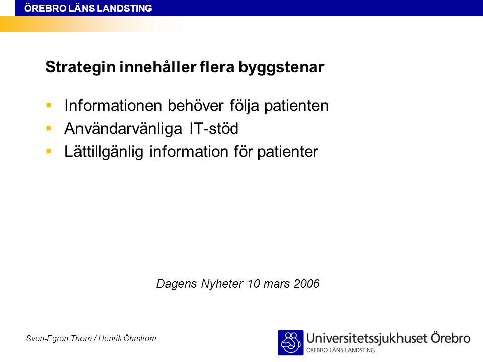 ÖREBRO LÄNS LANDSTING Sven-Egron Thörn / Henrik Öhrström Strategin innehåller flera byggstenar  Informationen behöver följa patienten  Användarvänli