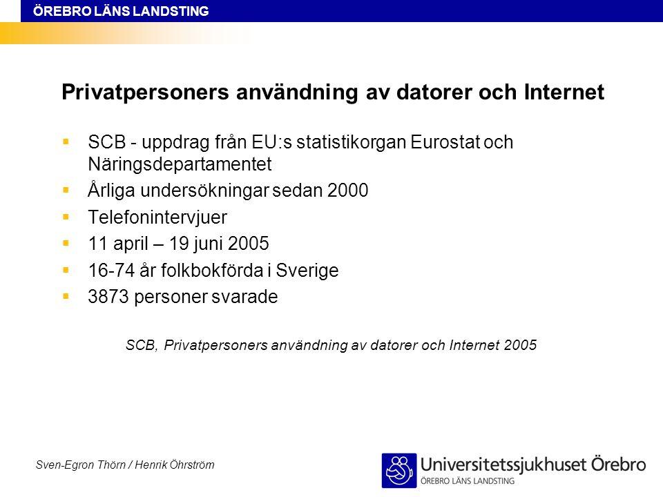 ÖREBRO LÄNS LANDSTING Sven-Egron Thörn / Henrik Öhrström Privatpersoners användning av datorer och Internet  SCB - uppdrag från EU:s statistikorgan E