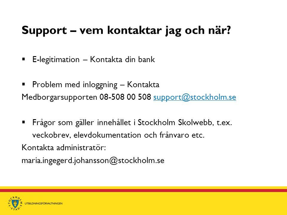 Support – vem kontaktar jag och när?  E-legitimation – Kontakta din bank  Problem med inloggning – Kontakta Medborgarsupporten 08-508 00 508 support