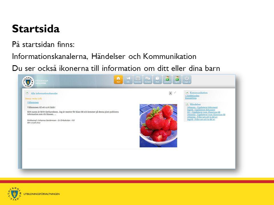 Startsida På startsidan finns: Informationskanalerna, Händelser och Kommunikation Du ser också ikonerna till information om ditt eller dina barn