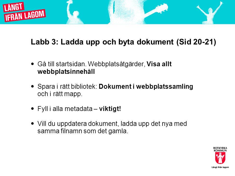 Labb 3: Ladda upp och byta dokument (Sid 20-21)  Gå till startsidan. Webbplatsåtgärder, Visa allt webbplatsinnehåll  Spara i rätt bibliotek: Dokumen