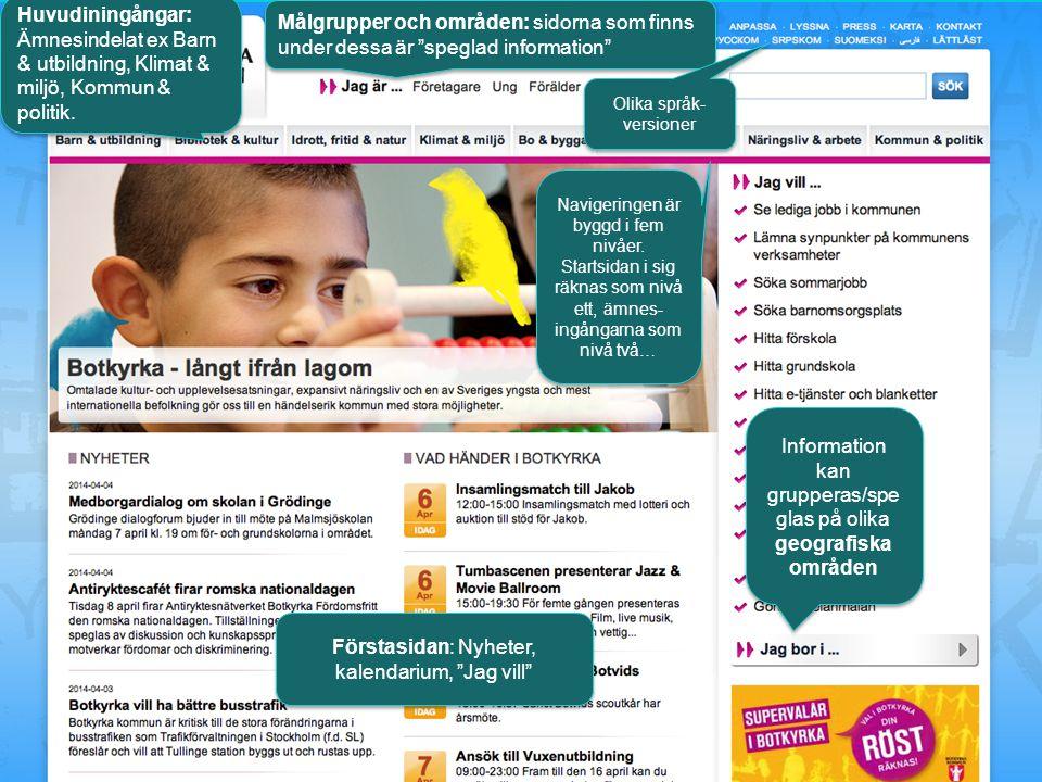 """Huvudiningångar: Ämnesindelat ex Barn & utbildning, Klimat & miljö, Kommun & politik. Målgrupper och områden: sidorna som finns under dessa är """"spegla"""