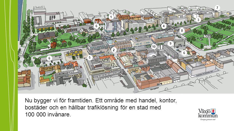 Nu bygger vi för framtiden. Ett område med handel, kontor, bostäder och en hållbar trafiklösning för en stad med 100 000 invånare. 1 2 3 4 5 6 6 6 7 8