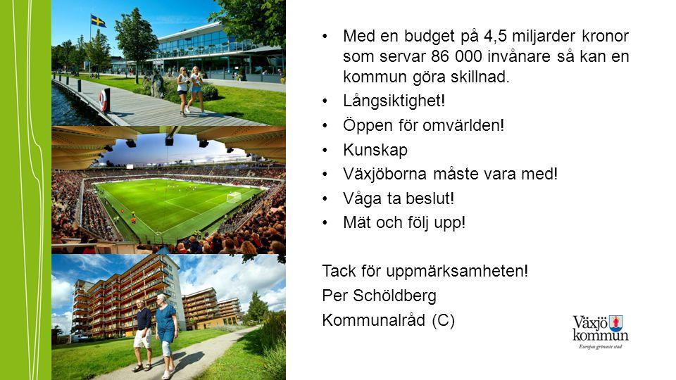 •Med en budget på 4,5 miljarder kronor som servar 86 000 invånare så kan en kommun göra skillnad. •Långsiktighet! •Öppen för omvärlden! •Kunskap •Växj