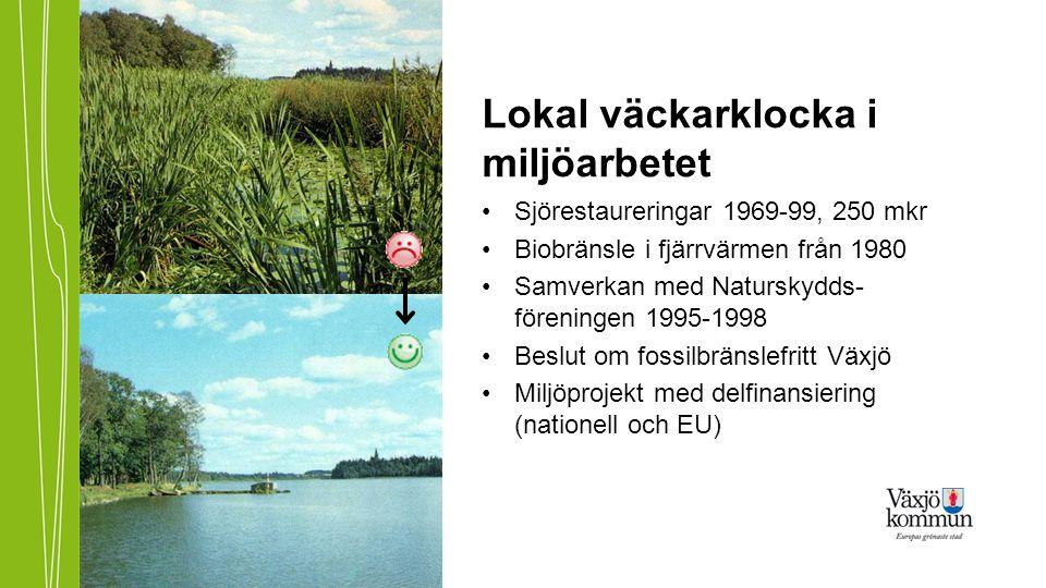 Lokal väckarklocka i miljöarbetet •Sjörestaureringar 1969-99, 250 mkr •Biobränsle i fjärrvärmen från 1980 •Samverkan med Naturskydds- föreningen 1995-