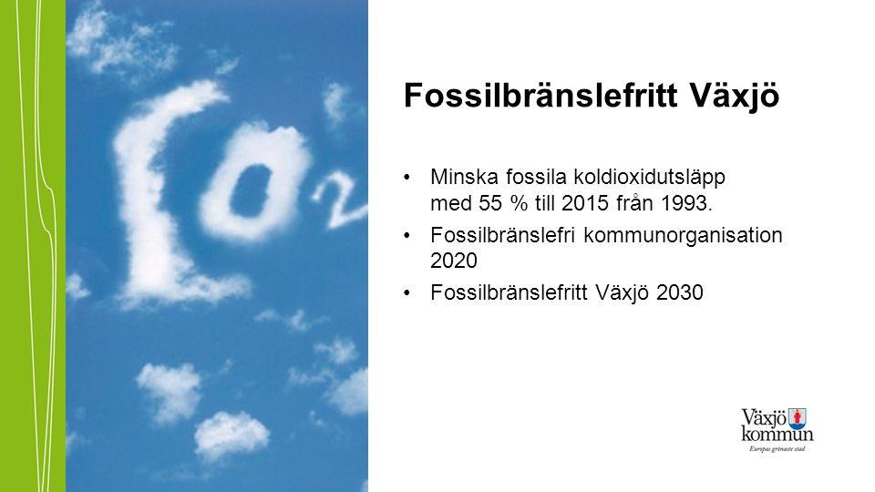 Fossilbränslefritt Växjö •Minska fossila koldioxidutsläpp med 55 % till 2015 från 1993. •Fossilbränslefri kommunorganisation 2020 •Fossilbränslefritt