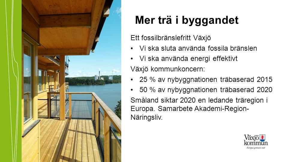 Mer trä i byggandet Ett fossilbränslefritt Växjö •Vi ska sluta använda fossila bränslen •Vi ska använda energi effektivt Växjö kommunkoncern: •25 % av