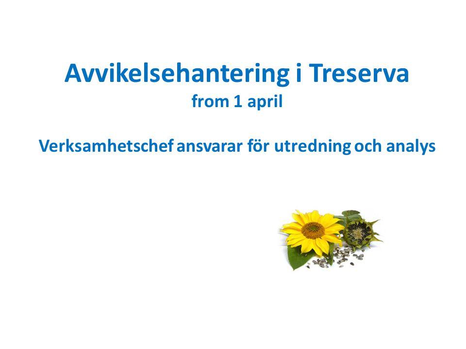 Avvikelsehantering i Treserva from 1 april Verksamhetschef ansvarar för utredning och analys
