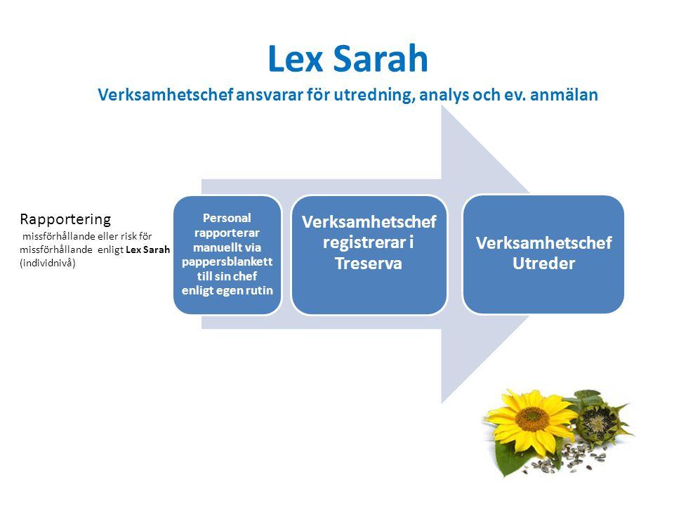 Lex Sarah Verksamhetschef ansvarar för utredning, analys och ev.