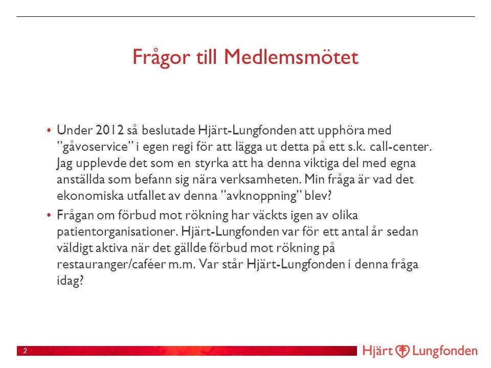 Frågor till Medlemsmötet • Under 2012 så beslutade Hjärt-Lungfonden att upphöra med gåvoservice i egen regi för att lägga ut detta på ett s.k.