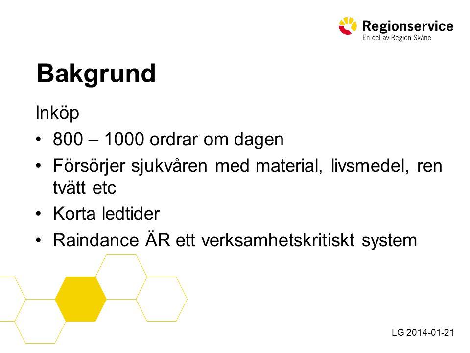 LG 2014-01-21 Planeringcykel för uppgradering •Ca 3 månaders framförhållning •Dag för uppgradering fastställs i samråd med Ekonomi, försörjning, logistik, CGI och kritiska leverantörer.