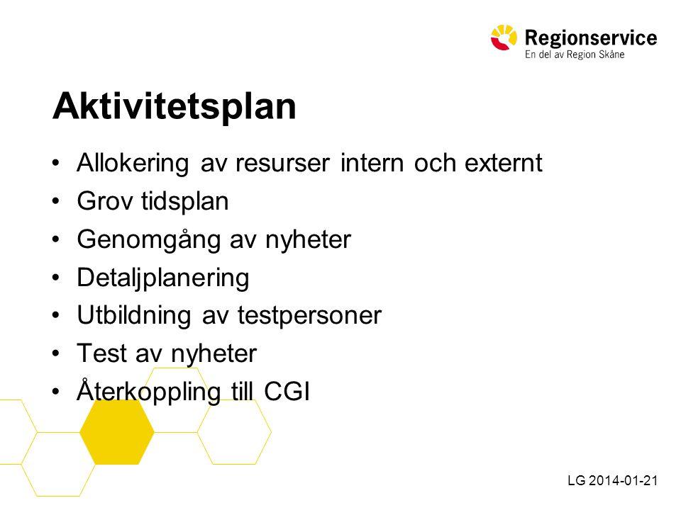 LG 2014-01-21 Aktivitetsplan •Uppdatering av handböcker, lathundar och manualer.