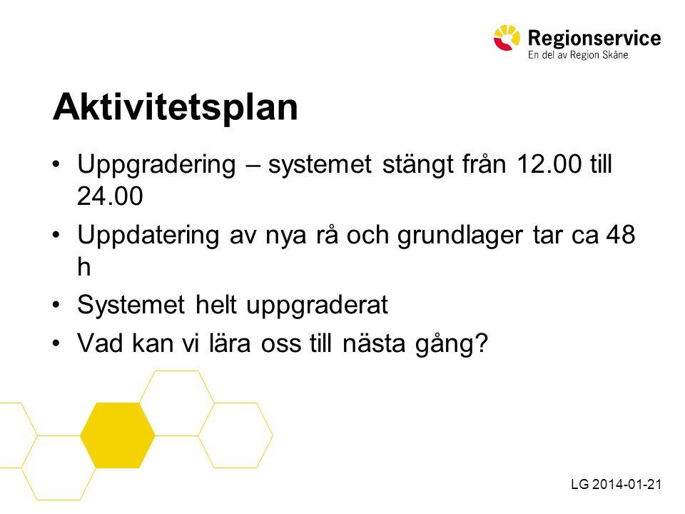 LG 2014-01-21 Slutsats •En lyckad uppgradering kräver en noggrann planering, ett väl förankrat beslut och en bra dialog med verksamheten!