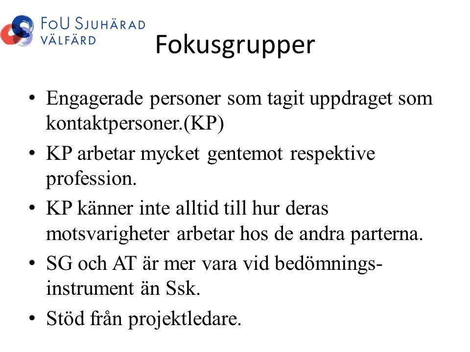 Fokusgrupper • Engagerade personer som tagit uppdraget som kontaktpersoner.(KP) • KP arbetar mycket gentemot respektive profession. • KP känner inte a