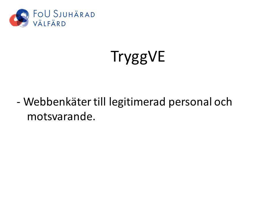 TryggVE - Webbenkäter till legitimerad personal och motsvarande.