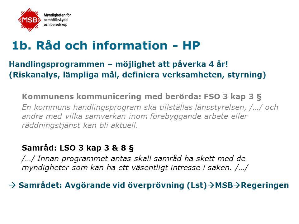 1b.Råd och information - HP Handlingsprogrammen – möjlighet att påverka 4 år.