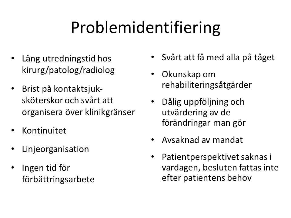 Problemidentifiering • Lång utredningstid hos kirurg/patolog/radiolog • Brist på kontaktsjuk- sköterskor och svårt att organisera över klinikgränser •