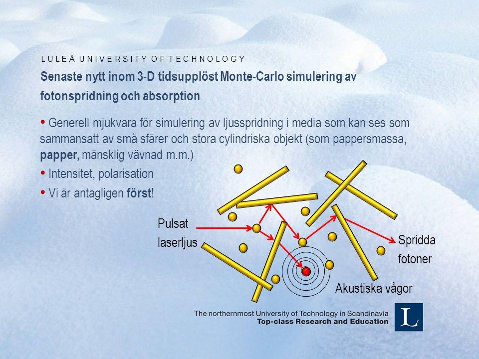 L U L E Å U N I V E R S I T Y O F T E C H N O L O G Y Pulsat laserljus Spridda fotoner Akustiska vågor Senaste nytt inom 3-D tidsupplöst Monte-Carlo simulering av fotonspridning och absorption • Generell mjukvara för simulering av ljusspridning i media som kan ses som sammansatt av små sfärer och stora cylindriska objekt (som pappersmassa, papper, mänsklig vävnad m.m.) • Intensitet, polarisation • Vi är antagligen först !