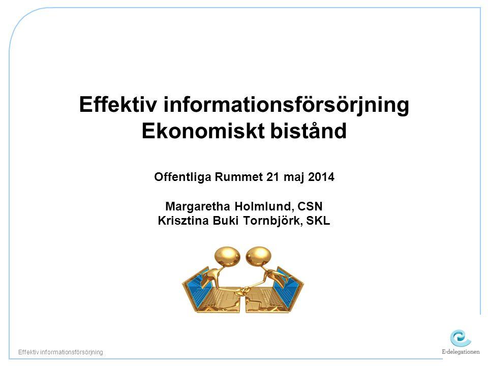 Effektiv informationsförsörjning Ekonomiskt bistånd Offentliga Rummet 21 maj 2014 Margaretha Holmlund, CSN Krisztina Buki Tornbjörk, SKL Effektiv informationsförsörjning