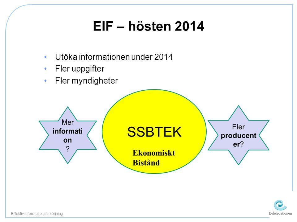 EIF – hösten 2014 •Utöka informationen under 2014 •Fler uppgifter •Fler myndigheter Effektiv informationsförsörjning