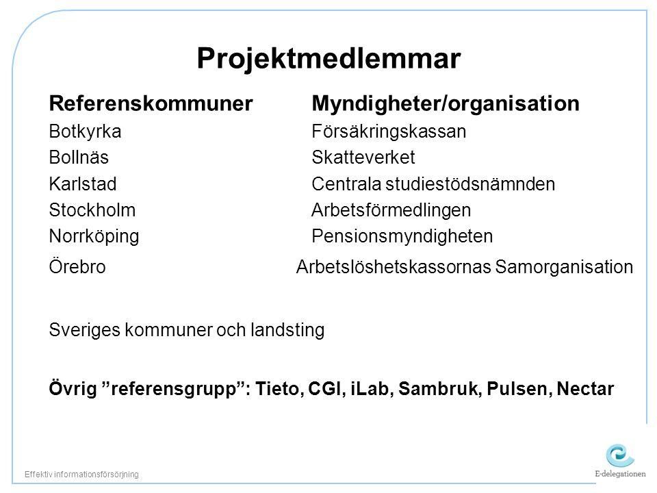 Projektmedlemmar ReferenskommunerMyndigheter/organisation BotkyrkaFörsäkringskassan BollnäsSkatteverket KarlstadCentrala studiestödsnämnden StockholmA