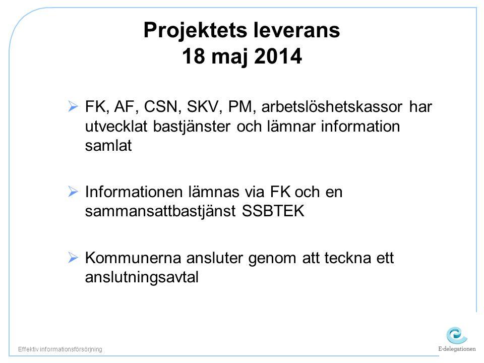 Projektets leverans 18 maj 2014  FK, AF, CSN, SKV, PM, arbetslöshetskassor har utvecklat bastjänster och lämnar information samlat  Informationen lämnas via FK och en sammansattbastjänst SSBTEK  Kommunerna ansluter genom att teckna ett anslutningsavtal Effektiv informationsförsörjning