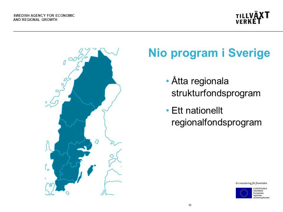 SWEDISH AGENCY FOR ECONOMIC AND REGIONAL GROWTH Nio program i Sverige •Åtta regionala strukturfondsprogram •Ett nationellt regionalfondsprogram 10