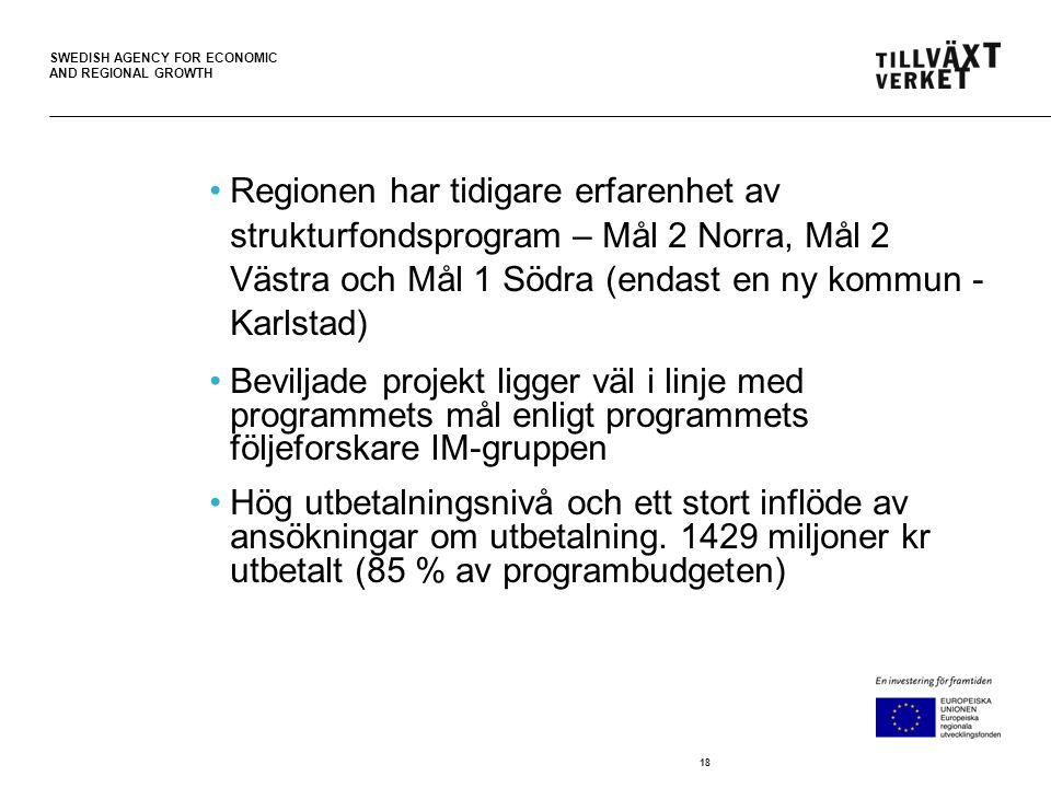 SWEDISH AGENCY FOR ECONOMIC AND REGIONAL GROWTH •Regionen har tidigare erfarenhet av strukturfondsprogram – Mål 2 Norra, Mål 2 Västra och Mål 1 Södra (endast en ny kommun - Karlstad) •Beviljade projekt ligger väl i linje med programmets mål enligt programmets följeforskare IM-gruppen •Hög utbetalningsnivå och ett stort inflöde av ansökningar om utbetalning.