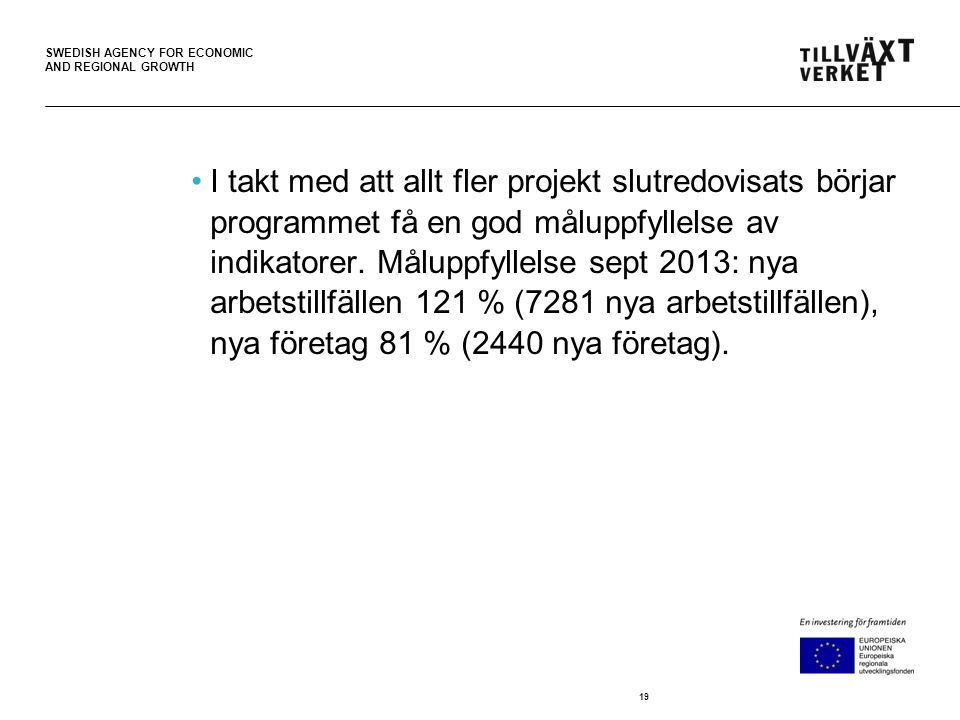 SWEDISH AGENCY FOR ECONOMIC AND REGIONAL GROWTH •I takt med att allt fler projekt slutredovisats börjar programmet få en god måluppfyllelse av indikatorer.