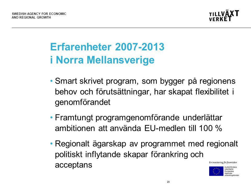 SWEDISH AGENCY FOR ECONOMIC AND REGIONAL GROWTH Erfarenheter 2007-2013 i Norra Mellansverige •Smart skrivet program, som bygger på regionens behov och förutsättningar, har skapat flexibilitet i genomförandet •Framtungt programgenomförande underlättar ambitionen att använda EU-medlen till 100 % •Regionalt ägarskap av programmet med regionalt politiskt inflytande skapar förankring och acceptans 20