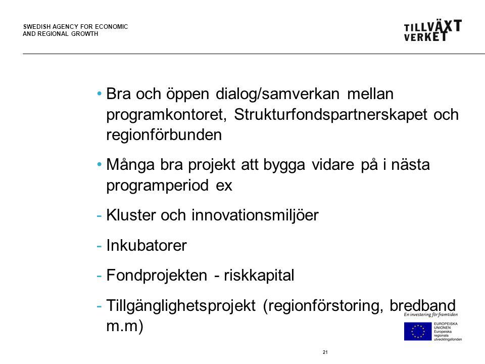 SWEDISH AGENCY FOR ECONOMIC AND REGIONAL GROWTH •Bra och öppen dialog/samverkan mellan programkontoret, Strukturfondspartnerskapet och regionförbunden •Många bra projekt att bygga vidare på i nästa programperiod ex -Kluster och innovationsmiljöer -Inkubatorer -Fondprojekten - riskkapital -Tillgänglighetsprojekt (regionförstoring, bredband m.m) 21