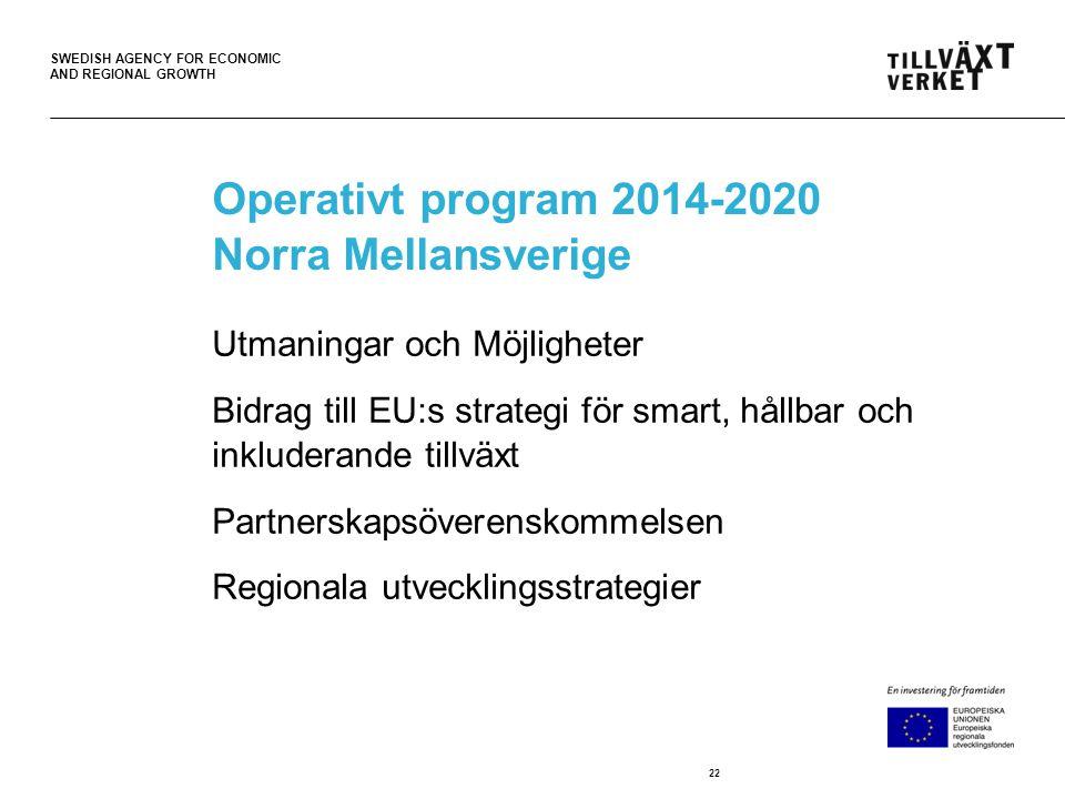 SWEDISH AGENCY FOR ECONOMIC AND REGIONAL GROWTH Operativt program 2014-2020 Norra Mellansverige Utmaningar och Möjligheter Bidrag till EU:s strategi för smart, hållbar och inkluderande tillväxt Partnerskapsöverenskommelsen Regionala utvecklingsstrategier 22