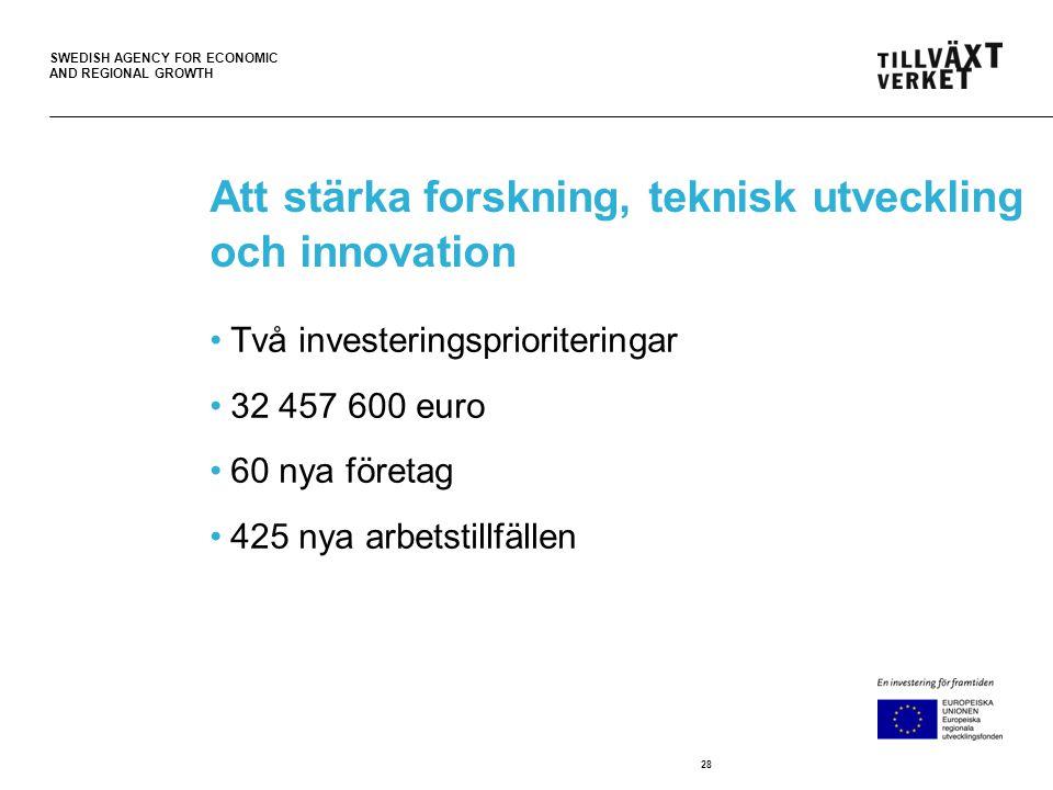 SWEDISH AGENCY FOR ECONOMIC AND REGIONAL GROWTH Att stärka forskning, teknisk utveckling och innovation •Två investeringsprioriteringar •32 457 600 euro •60 nya företag •425 nya arbetstillfällen 28