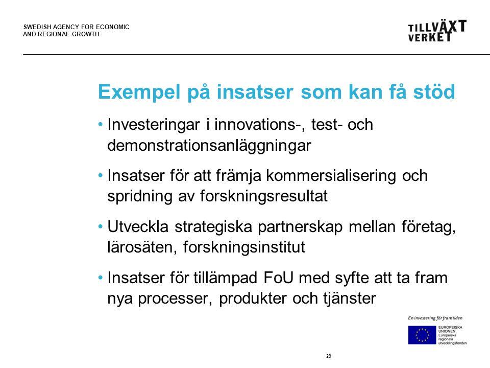 SWEDISH AGENCY FOR ECONOMIC AND REGIONAL GROWTH Exempel på insatser som kan få stöd •Investeringar i innovations-, test- och demonstrationsanläggningar •Insatser för att främja kommersialisering och spridning av forskningsresultat •Utveckla strategiska partnerskap mellan företag, lärosäten, forskningsinstitut •Insatser för tillämpad FoU med syfte att ta fram nya processer, produkter och tjänster 29