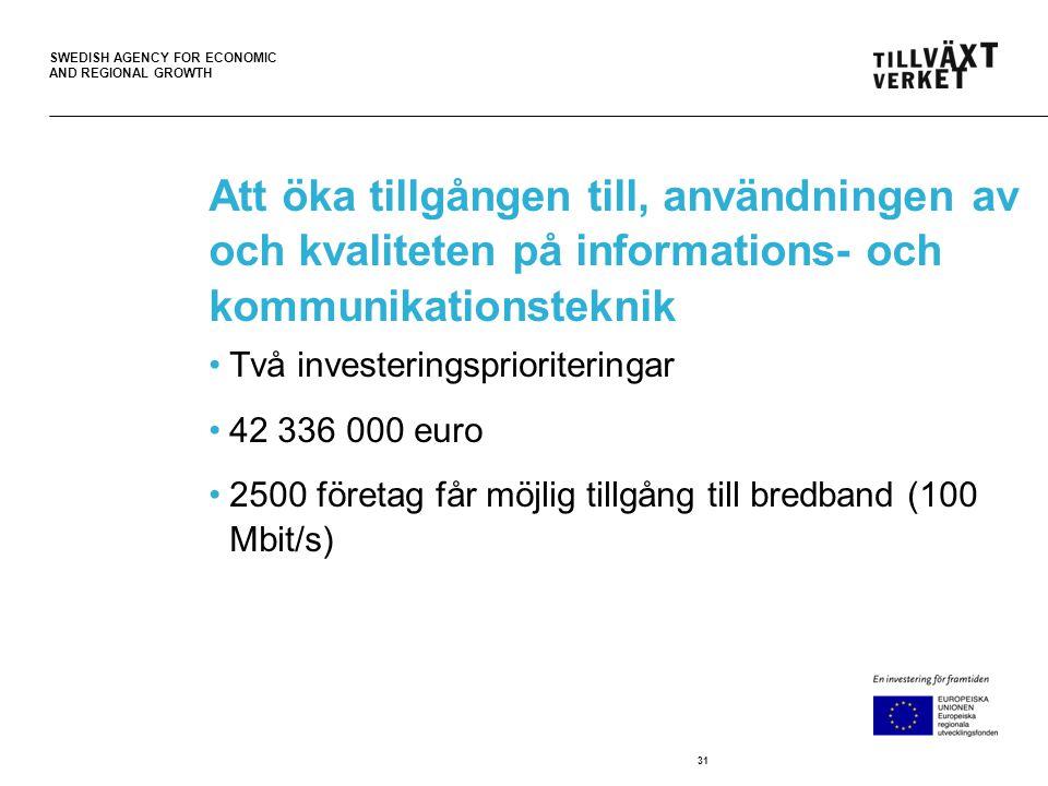 SWEDISH AGENCY FOR ECONOMIC AND REGIONAL GROWTH Att öka tillgången till, användningen av och kvaliteten på informations- och kommunikationsteknik •Två investeringsprioriteringar •42 336 000 euro •2500 företag får möjlig tillgång till bredband (100 Mbit/s) 31
