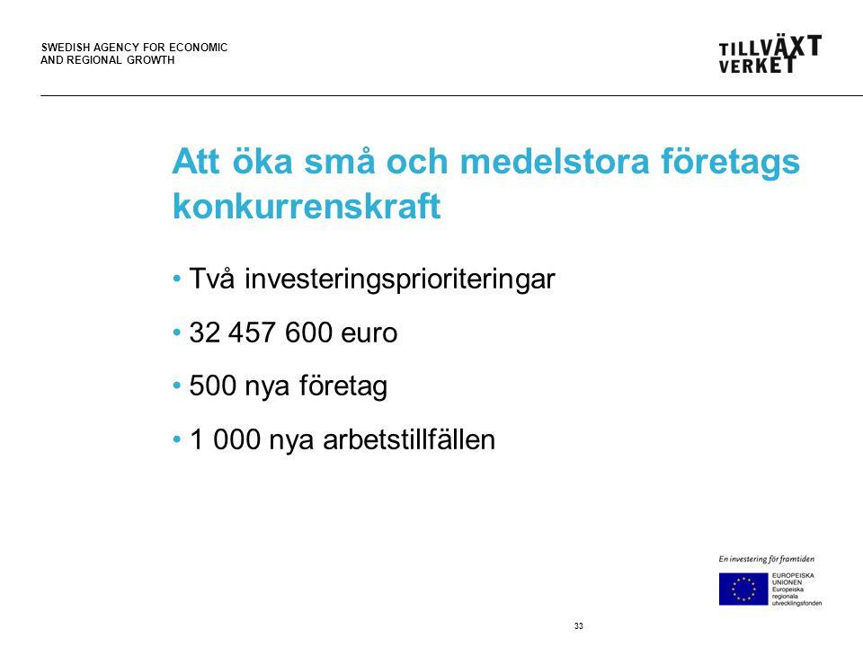 SWEDISH AGENCY FOR ECONOMIC AND REGIONAL GROWTH Att öka små och medelstora företags konkurrenskraft •Två investeringsprioriteringar •32 457 600 euro •500 nya företag •1 000 nya arbetstillfällen 33