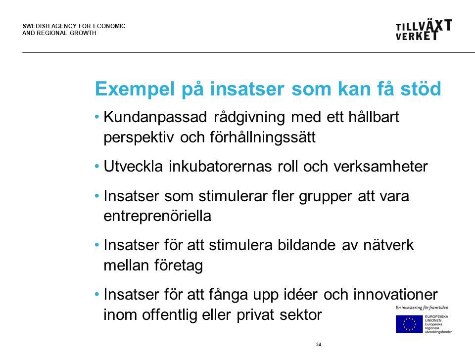 SWEDISH AGENCY FOR ECONOMIC AND REGIONAL GROWTH Exempel på insatser som kan få stöd •Kundanpassad rådgivning med ett hållbart perspektiv och förhållningssätt •Utveckla inkubatorernas roll och verksamheter •Insatser som stimulerar fler grupper att vara entreprenöriella •Insatser för att stimulera bildande av nätverk mellan företag •Insatser för att fånga upp idéer och innovationer inom offentlig eller privat sektor 34