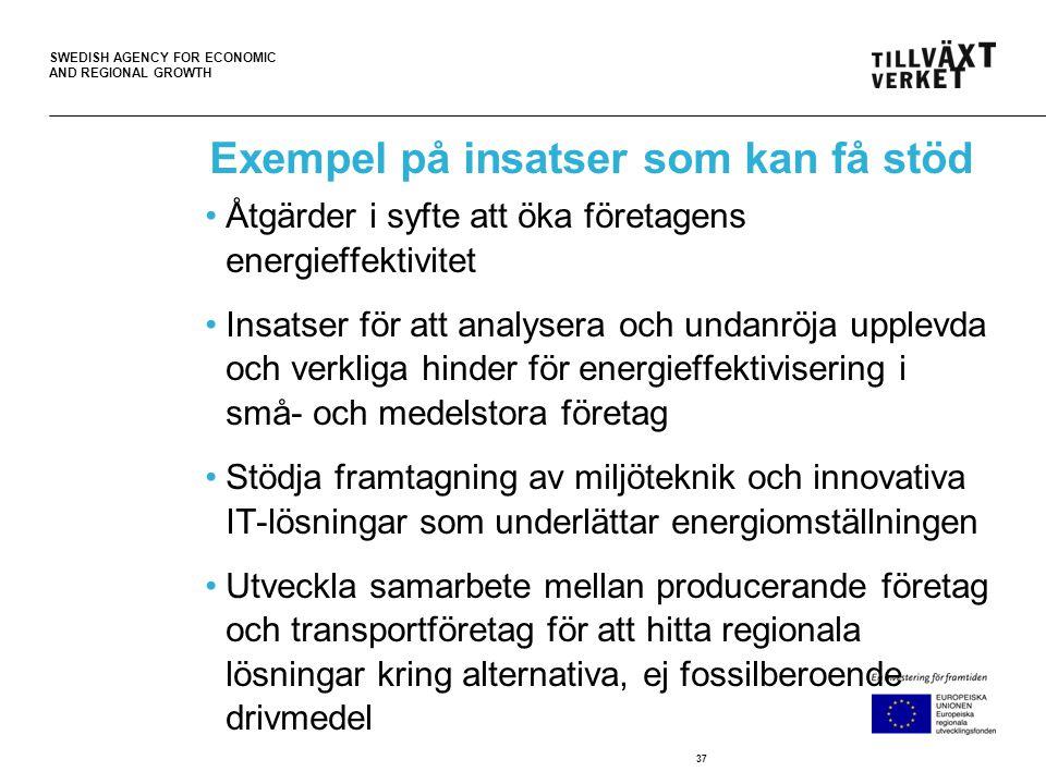 SWEDISH AGENCY FOR ECONOMIC AND REGIONAL GROWTH Exempel på insatser som kan få stöd •Åtgärder i syfte att öka företagens energieffektivitet •Insatser för att analysera och undanröja upplevda och verkliga hinder för energieffektivisering i små- och medelstora företag •Stödja framtagning av miljöteknik och innovativa IT-lösningar som underlättar energiomställningen •Utveckla samarbete mellan producerande företag och transportföretag för att hitta regionala lösningar kring alternativa, ej fossilberoende drivmedel 37