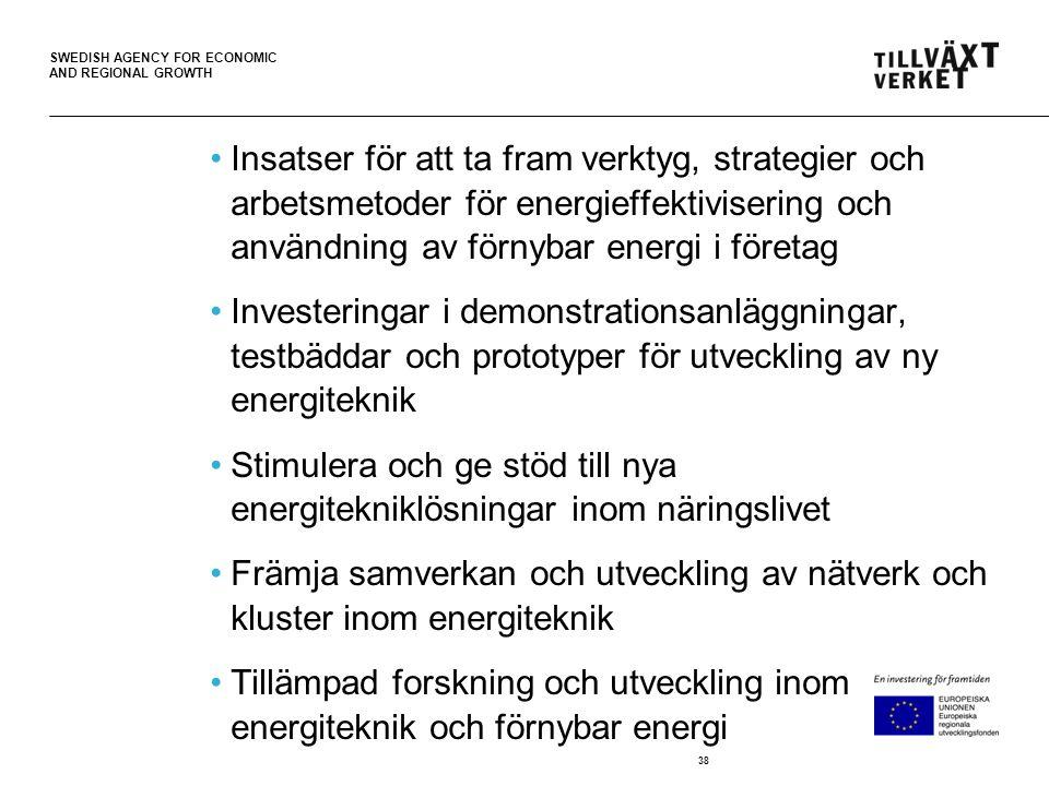 SWEDISH AGENCY FOR ECONOMIC AND REGIONAL GROWTH •Insatser för att ta fram verktyg, strategier och arbetsmetoder för energieffektivisering och användning av förnybar energi i företag •Investeringar i demonstrationsanläggningar, testbäddar och prototyper för utveckling av ny energiteknik •Stimulera och ge stöd till nya energitekniklösningar inom näringslivet •Främja samverkan och utveckling av nätverk och kluster inom energiteknik •Tillämpad forskning och utveckling inom energiteknik och förnybar energi 38