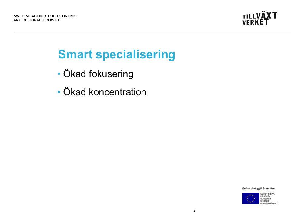 SWEDISH AGENCY FOR ECONOMIC AND REGIONAL GROWTH Fem Insatsområden 1.Att stärka forskning, teknisk utveckling och innovation 2.Att öka tillgången till, användningen av och kvaliteten på informations- och kommunikationsteknik 3.Att öka små och medelstora företags konkurrenskraft 4.Att stödja övergången till en koldioxidsnål ekonomi inom alla sektorer 5.Att främja hållbara transporter och få bort flaskhalsar i viktig nätinfrastruktur 25