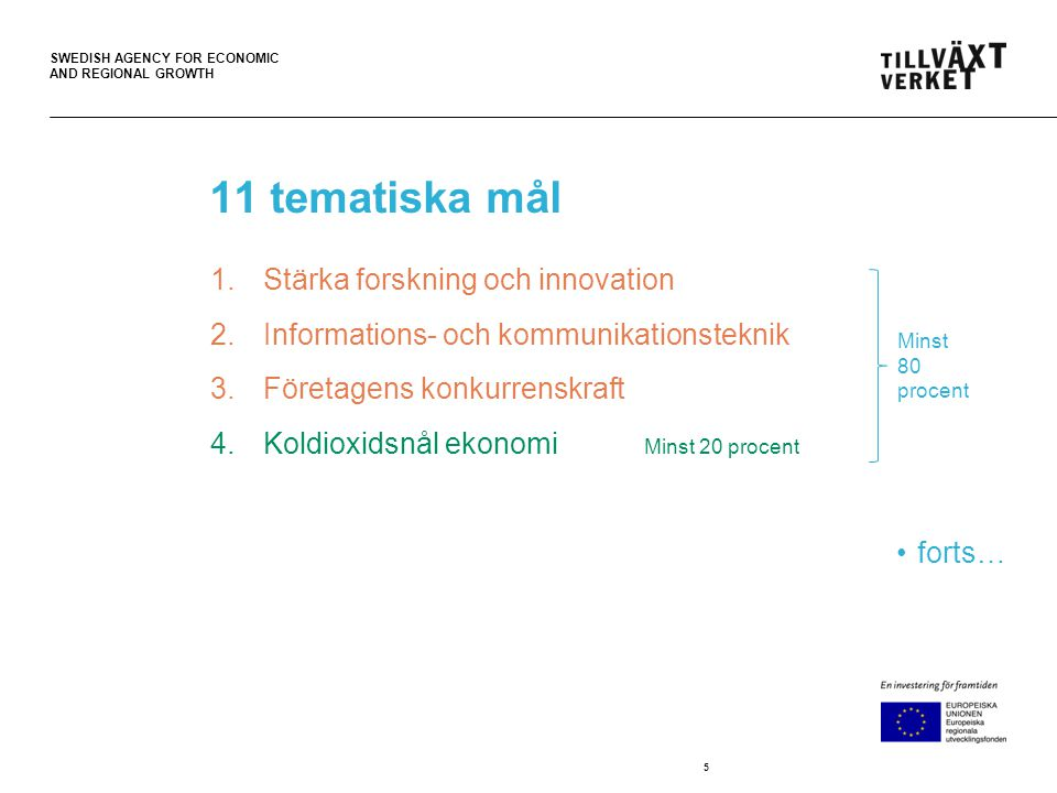 SWEDISH AGENCY FOR ECONOMIC AND REGIONAL GROWTH Tidtabell •30 september programmen lämnades in •Oktober - bearbetning av programmen •16 oktober - möte på Näringsdepartementet med samtliga programskrivare •28 oktober – reviderade programförslag lämnas in •November – gemensam beredning i regeringskansliet •Mars 2014 - programmen lämnas till EU-kommissionen för godkännande •Hösten 2014.