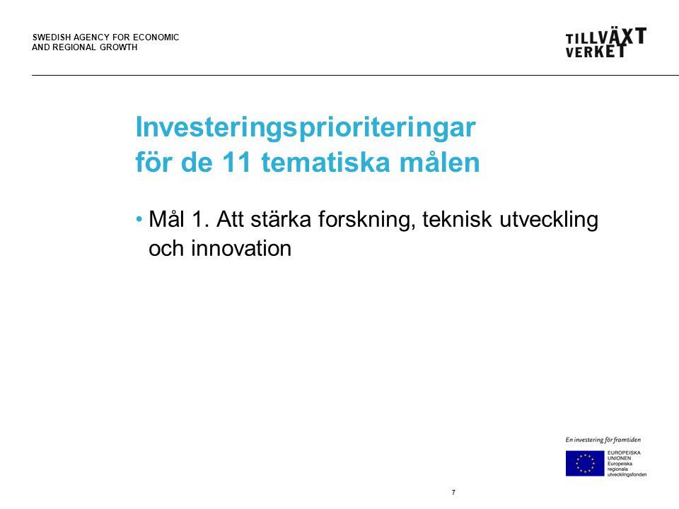 SWEDISH AGENCY FOR ECONOMIC AND REGIONAL GROWTH Investeringsprioriteringar för de 11 tematiska målen •Mål 1. Att stärka forskning, teknisk utveckling