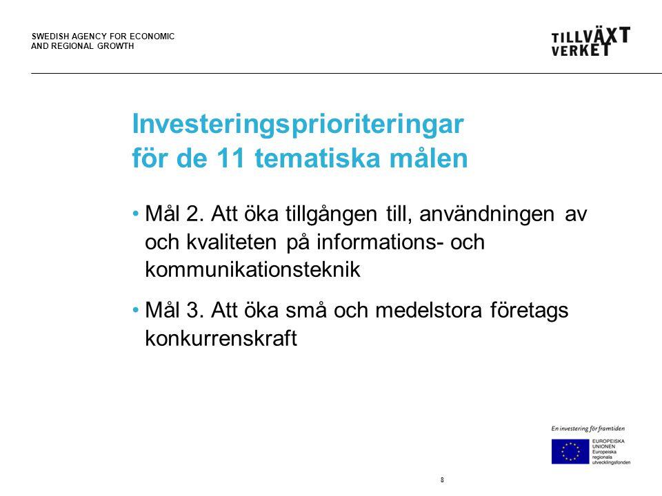 SWEDISH AGENCY FOR ECONOMIC AND REGIONAL GROWTH Investeringsprioriteringar för de 11 tematiska målen •Mål 2. Att öka tillgången till, användningen av